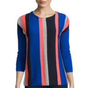 Stylus™ 3/4-Sleeve Multi Stripe Sweater