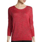 Liz Claiborne® Dolman-Sleeve Lurex Slub Sweater