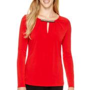 Liz Claiborne® Long-Sleeve Pleated Neck-Trim Top - Tall