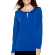 Liz Claiborne® Long-Sleeve Pleated Neck-Trim Top - Tall
