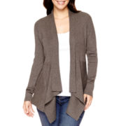 St. John's Bay® Long-Sleeve Ribbed Flyaway Cardigan