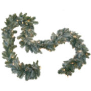 9' Pre-Lit Frosted Pine Christmas Garland