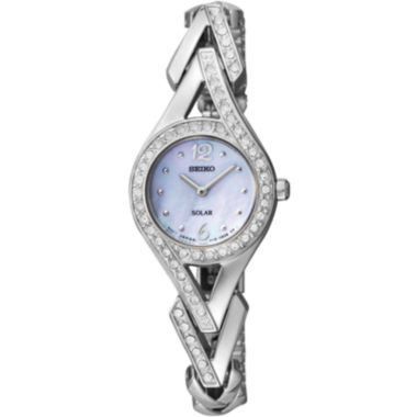jcpenney.com | Seiko® Womens Silver-Tone Mother-of-Pearl Solar Watch SUP173