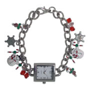 Womens Christmas-Themed Charm Bracelet Watch