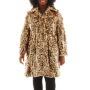 Excelled Faux-Fur Swing Coat - Plus