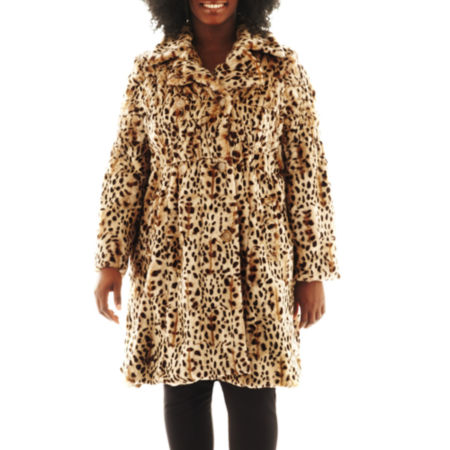 Excelled Leather Faux-Fur Swing Coat - Plus