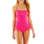 Arizona Polka Dot Shirred Bandeaukini Swim Top  - Juniors