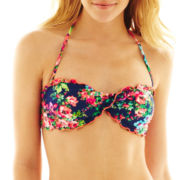 Arizona Floral Print Twist Bandeau Swim Top - Juniors