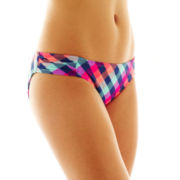 Arizona Check Print Scrunch Hipster Swim Bottoms