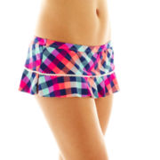 Arizona Check Print Skirted Hipster Swim Bottoms - Juniors