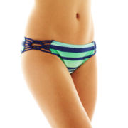 Arizona Striped Macramé Hipster Swim Bottoms - Juniors