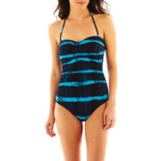 a.n.a® Shirred Tie-Dyed Bandeau 1-Piece Swimsuit