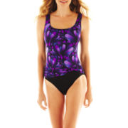 Robby Len by Longitude® Print Front-Sash 1-Piece Swimsuit
