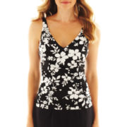 Jamaica Bay® Floral Print Side-Shirred Tankini Swim Top - Plus