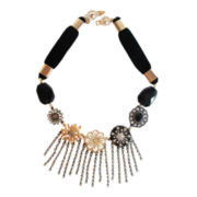 ZOË + SYD Black Onyx & Crystal Fringe Bib Necklace