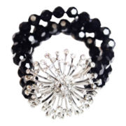ZOË + SYD Onyx & Crystal Sunburst Stretch Bracelet
