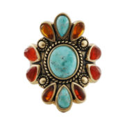 Art Smith by BARSE Turquoise, Amber & Carnelian Ring