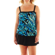 Azul by Maxine of Hollywood Bandeau Faux Skirtini 1-Piece Swimdress - Plus