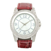Womens Crystal-Accent Croc Strap Boyfriend Watch