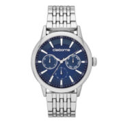 Claiborne® Mens Silver-Tone and Blue Dress Watch