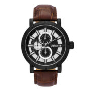 Claiborne® Mens Brown and Gunmetal Croc-Pattern Leather Strap Watch
