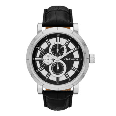jcpenney.com | Claiborne® Mens Black and Silver-Tone Croc-Pattern Leather Strap Watch