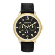 Claiborne® Mens Black and Gold-Tone Coin Edge Leather Watch