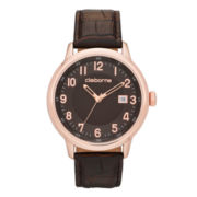 Claiborne® Mens Brown and Rose-Tone Croc-Pattern Leather Watch