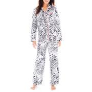 Ambrielle® Satin Long-Sleeve Shirt and Pants Pajama Set