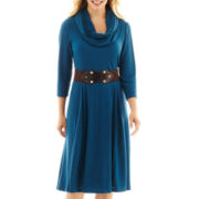 Robbie Bee® 3/4-Sleeve Infinity Scarf Belted Sweater Dress - Petite