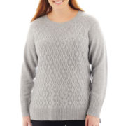 jcp™ Long-Sleeve Diamond Cable Sweater - Plus