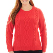 jcp™ Long-Sleeve Chunky Cable Sweater - Plus