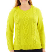 jcp™ Chunky Cable Sweater - Plus