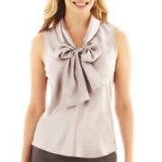Black Label by Evan-Picone Sleeveless Bow Blouse - Petite