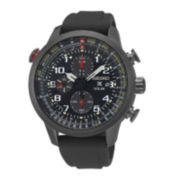 Seiko® Mens Prospex Solar Chronograph Black Strap Watch SSC371