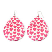 Pink Heart Sugar-Glitter Teardrop Earrings