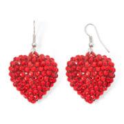 Red Pavé Puffed Heart Earrings