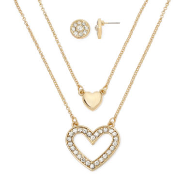 jcpenney.com | Monet® Heart Crystal/Gold Pendant Necklace and Earrings Boxed Set