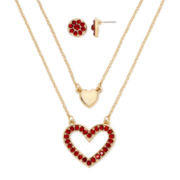 Monet® Gold-Tone Red Crystal Heart Pendant Necklace and Earrings Boxed Set