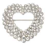 Monet® Silver Open-Design Heart Pin