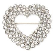 Monet® Silver Open-Design Heart Pin