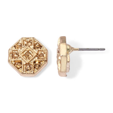 jcpenney.com | Monet® Brown Crystal Gold-Tone Button Earrings