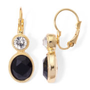 Monet® Black and White Crystal Gold-Tone Drop Earrings