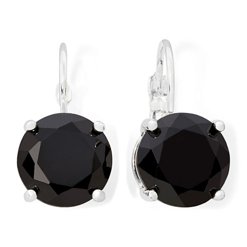 Monet® Silver-Tone Black Crystal Drop Earrings