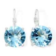 Monet® Silver-Tone Blue Crystal Drop Earrings