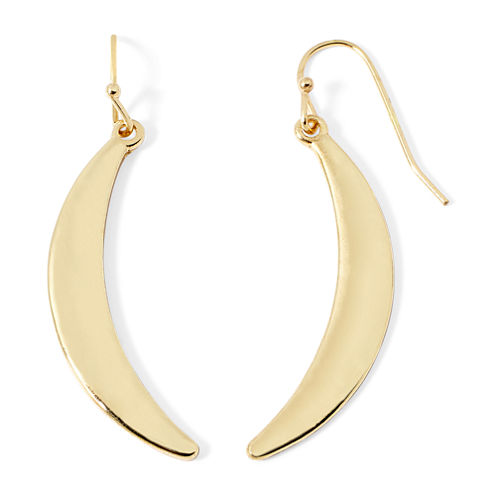 Liz Claiborne® Gold-Tone Crescent Drop Earrings