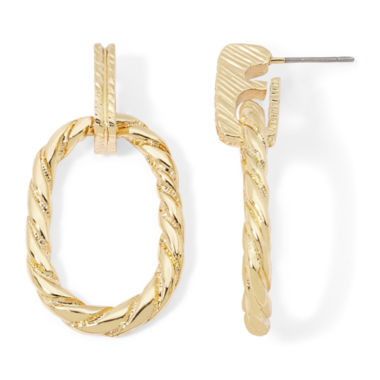 jcpenney.com | Monet® Textured Hoop Drop Earrings