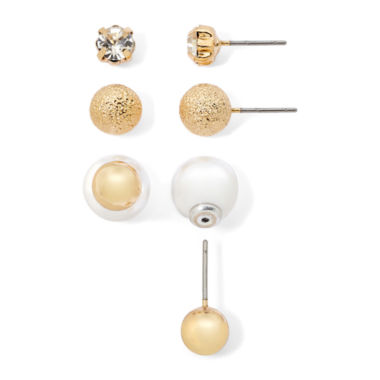 jcpenney.com | Monet® Gold-Tone Simulated Pearl and Crystal Stud 3-pr. Earring Set