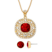 Monet® Red and White Crystal Gold-Tone Earring and Necklace Set