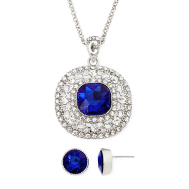 jcpenney.com | Monet® Blue and White Silver-Tone Earring and Necklace Set